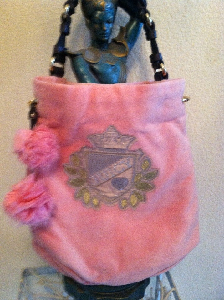 CUTE NEW Pink Juicy Couture Handbag w POM POMS  Brown Leather ... c670a9998