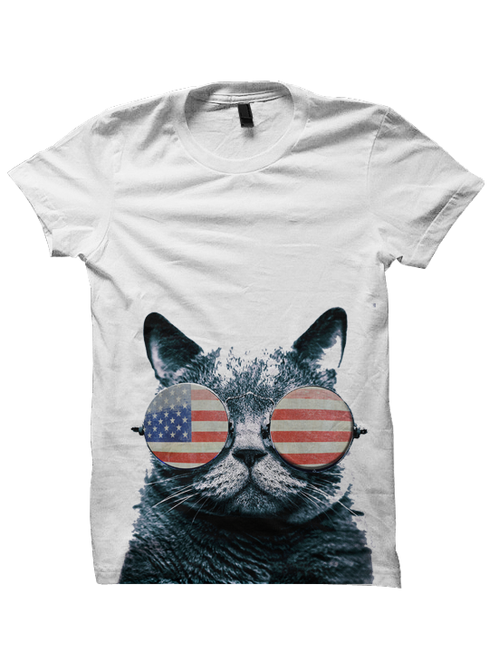 Usa Kitten Shirt Cat American Flag Cat Wearing Glasses