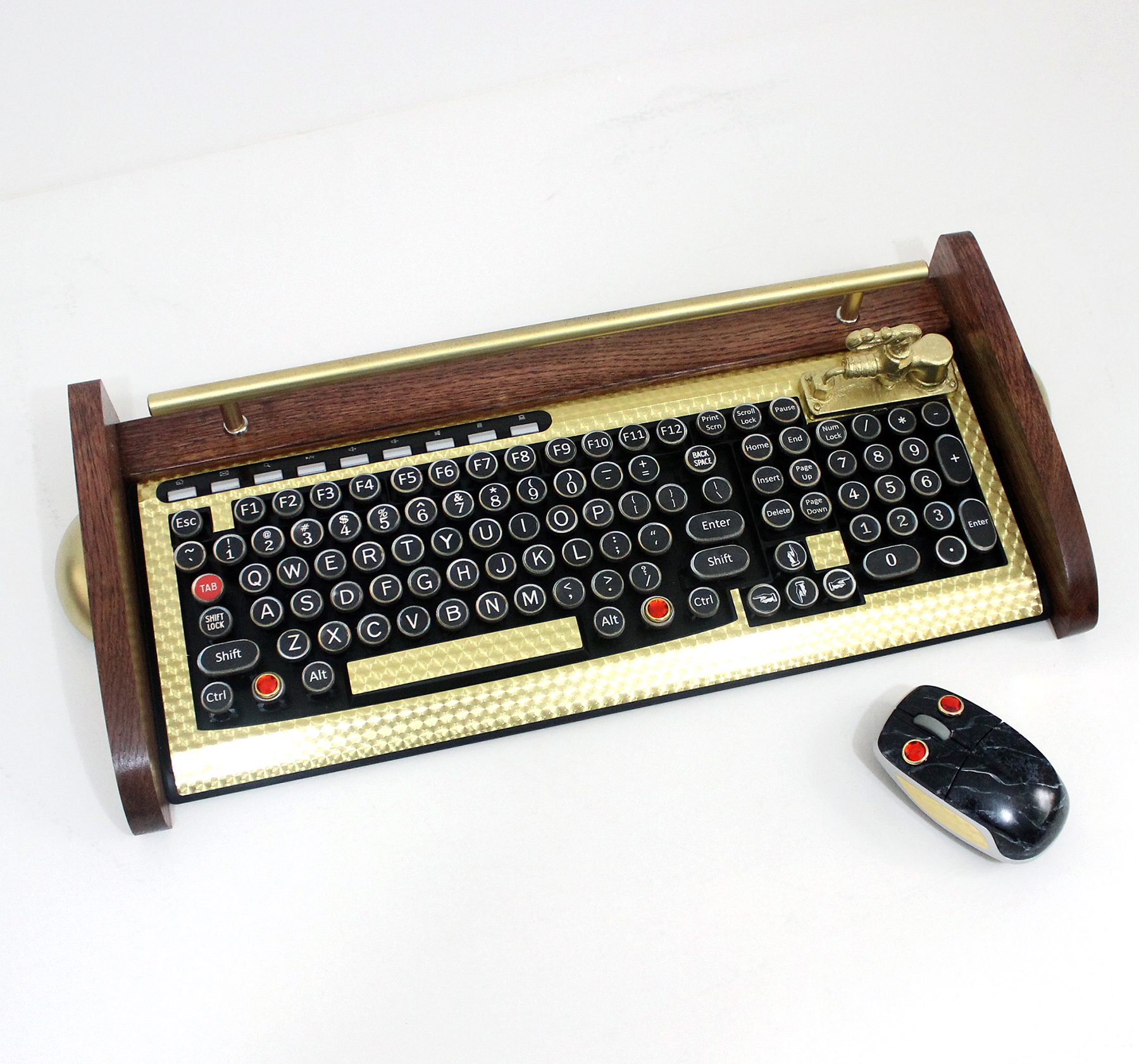 Keyboard Mouse Combo - Antique looking Victorian Styling -  Steampunk-Typewriter-Gold 2 from idockit