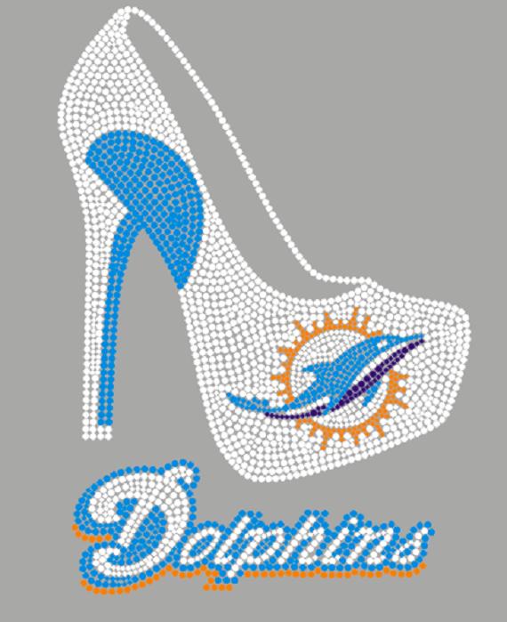 size 40 eca30 c7cc7 Miami Dolphins High Heel Rhinestone Transfer from Faithful Sparkle