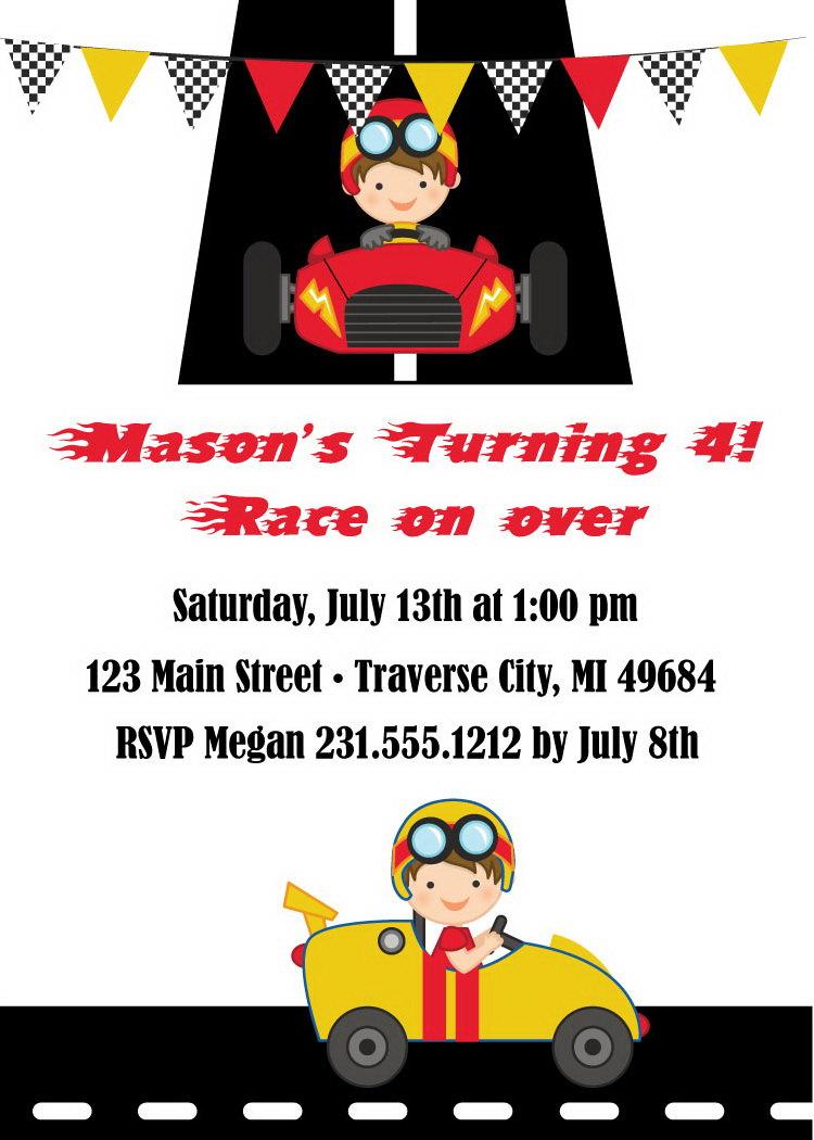 Racing Invitation - Boys Birthday Party Invite - Race Car Invitation ...