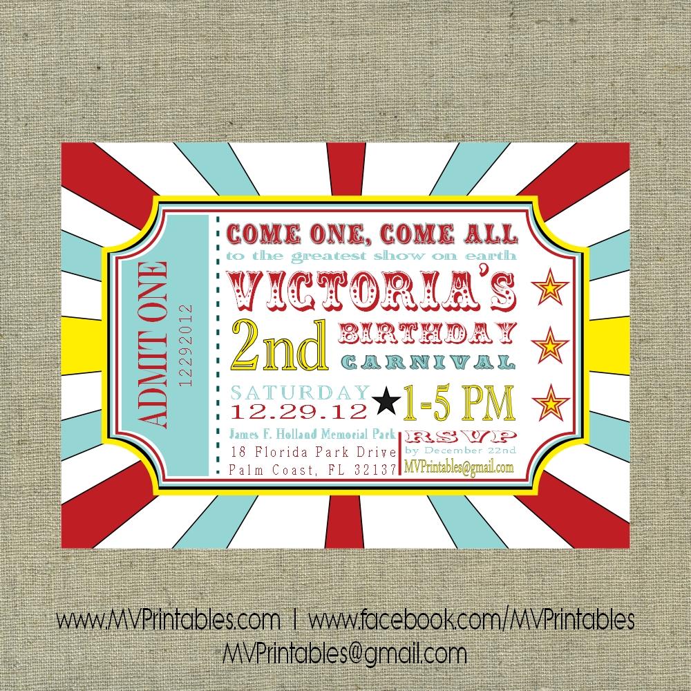 carnival themed custom digital printable invitation on storenvy