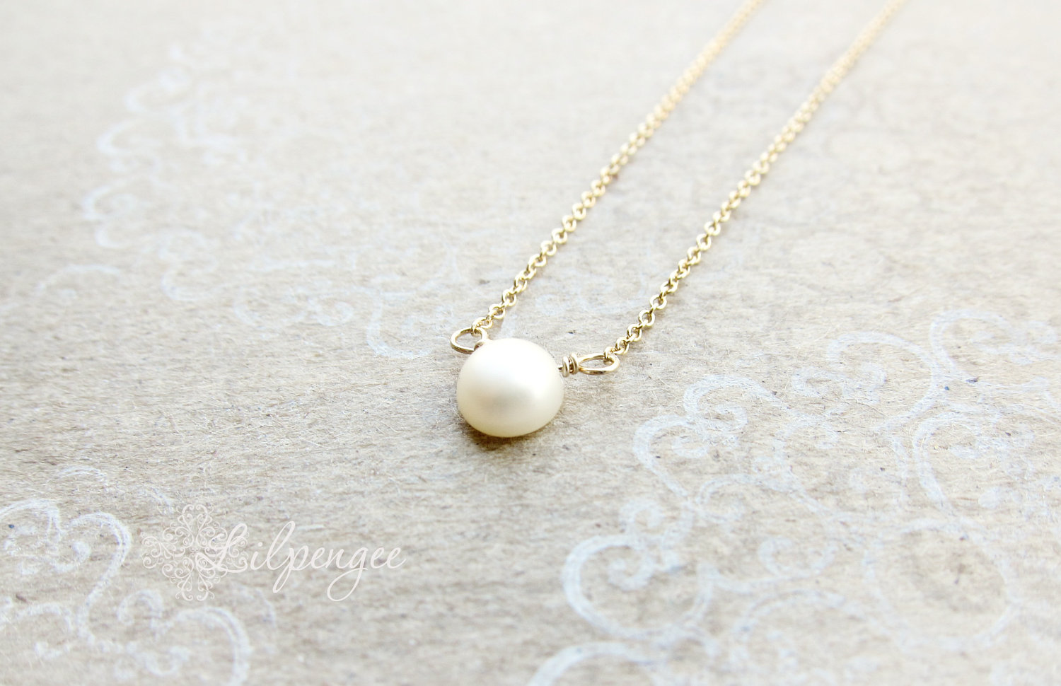 62c96072ca2cf golden too - single pearl necklace. sterling silver or gold chain from  Lilpengee Jewelry