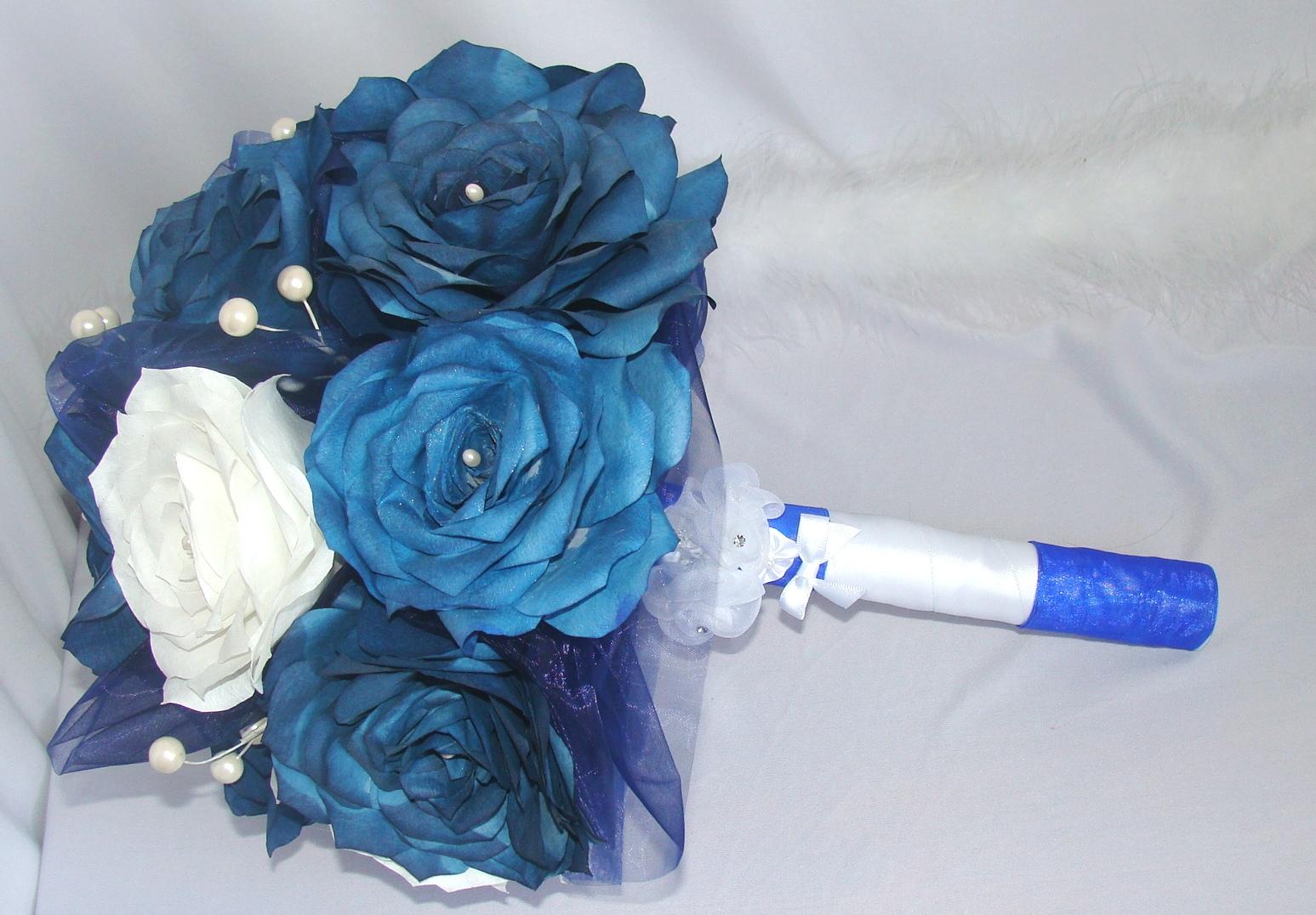 Navy Blue Bouquet Bridal Bouquets Wedding Bouquets Paper Bouquets