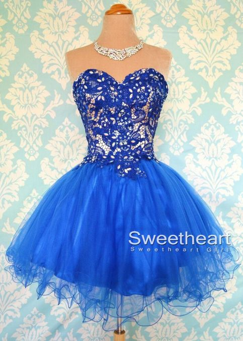 Blue Ball Gowns Short Lace Prom Dresses Lace Bridesmaid