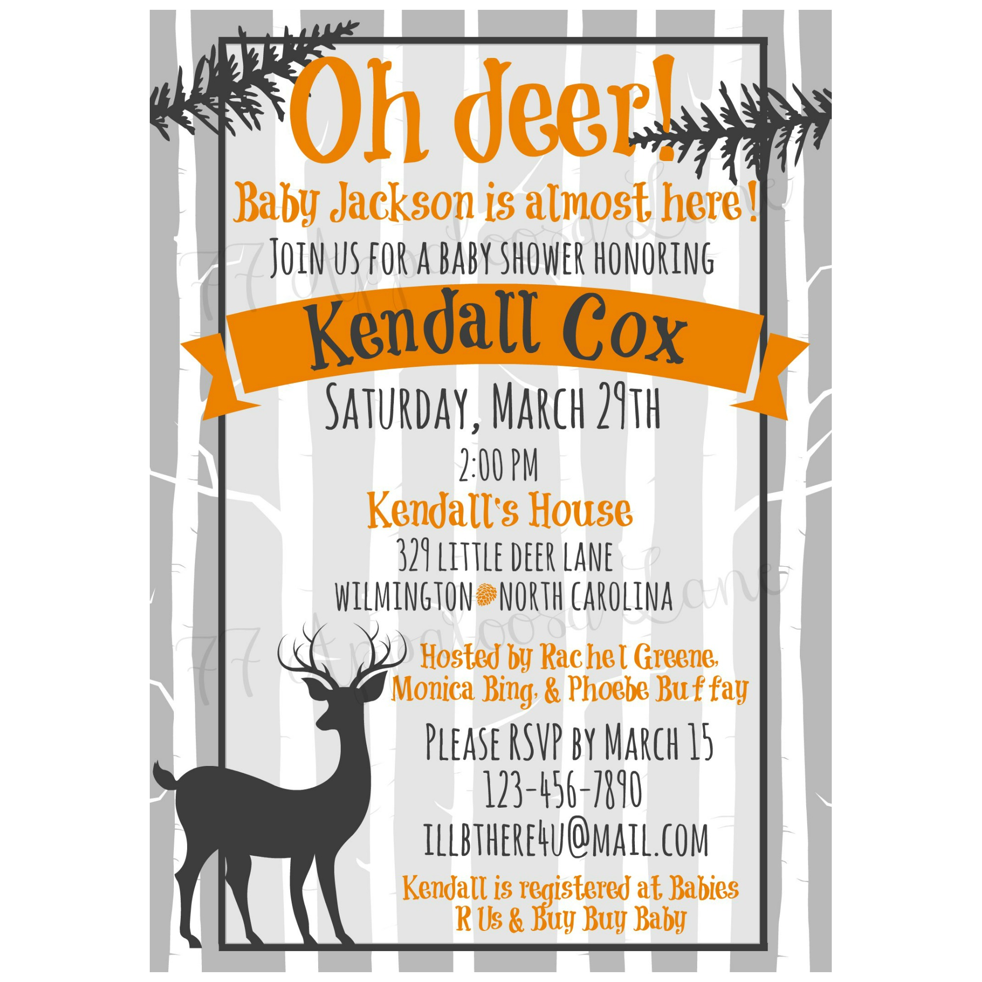 oh deer woodland baby shower invitation neutral on storenvy