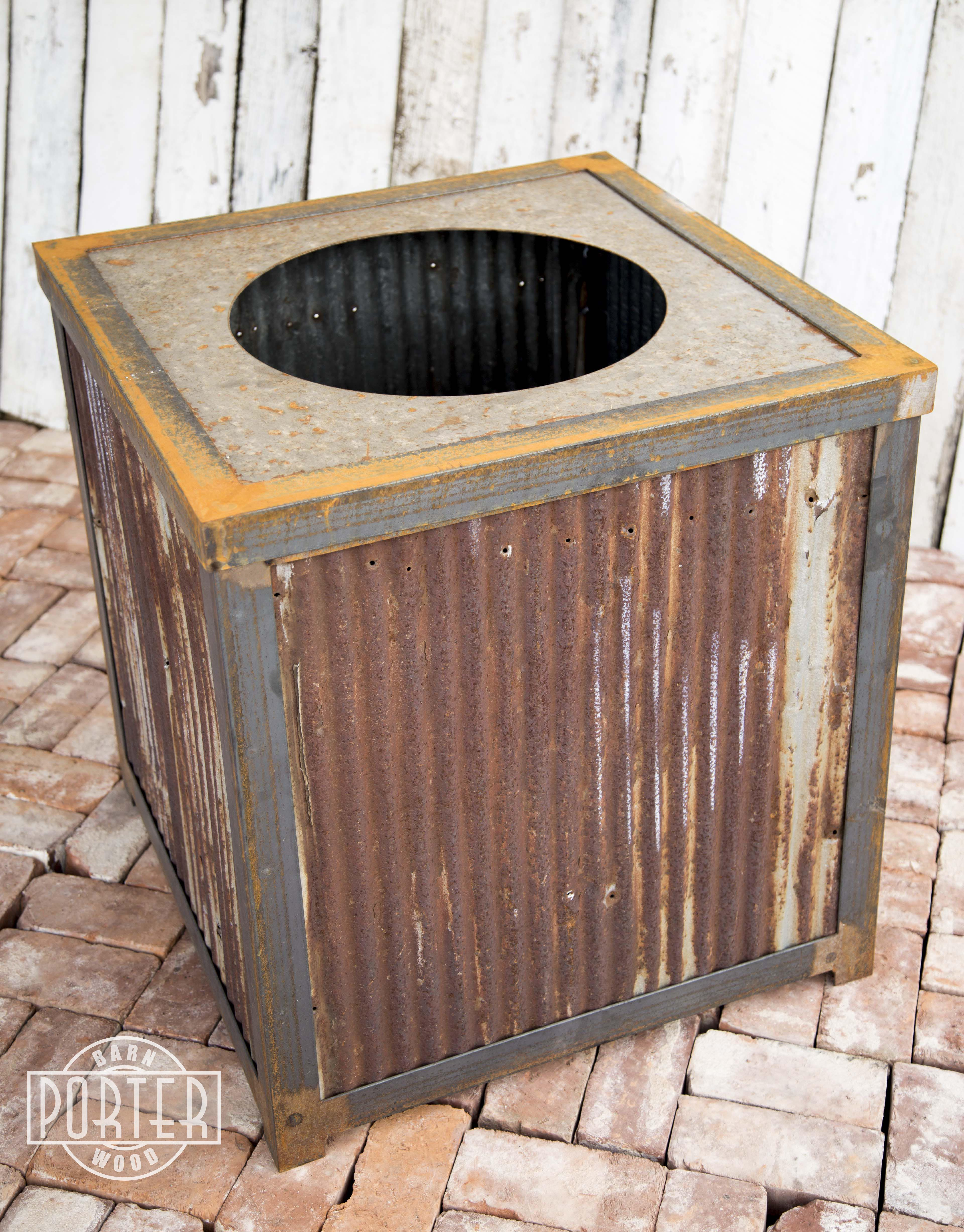 Modern Industrial Reclaimed Corrugated Metal Trash Can On