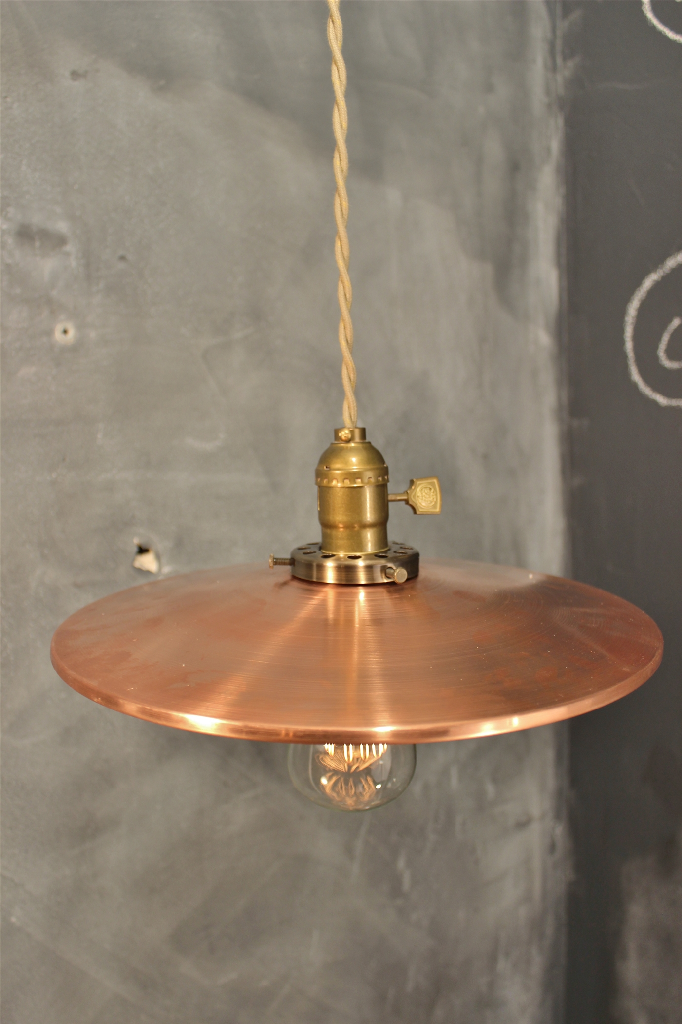Industrial Pendant Lamp W Flat Mirror Reflector Shade