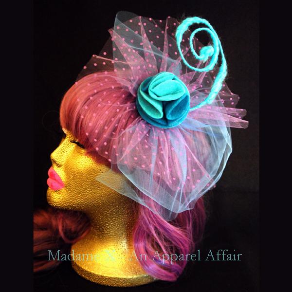 9a3d3efbe9d62 Aqua blue rose fascinator w  baby blue   lavender polka dot tulle on ...