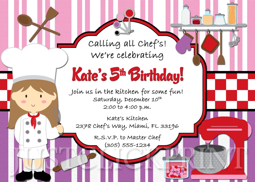 Little Chef Girls Cooking Party Birthday Invitation Printable