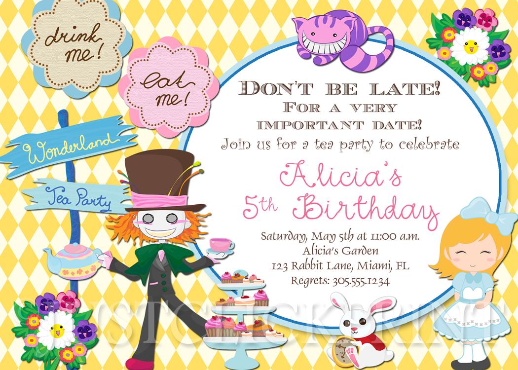 Alice In Wonderland Inspired Birthday Invitation Printable Just