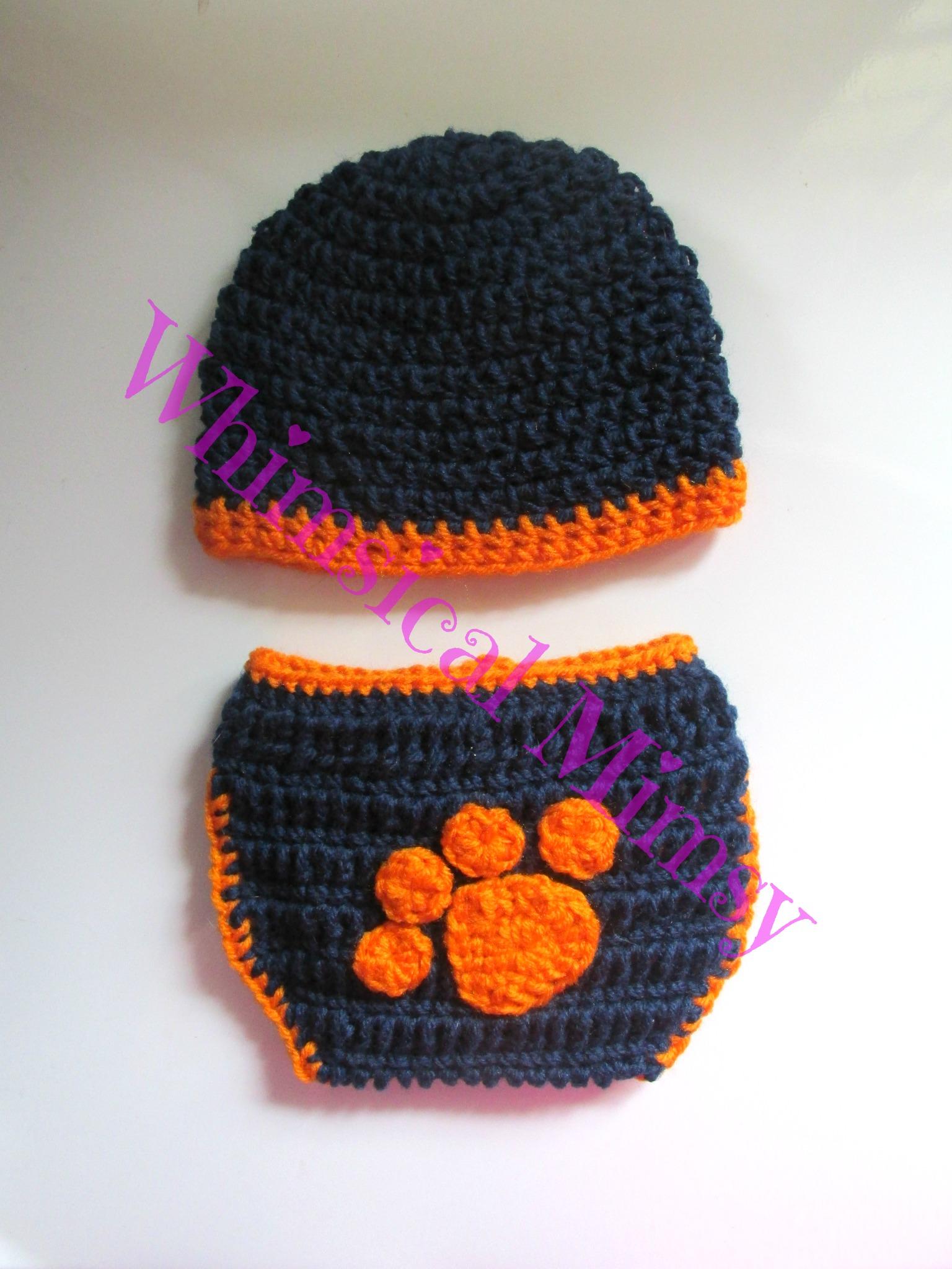 24a8c4de3b9 Crochet Auburn Football Inspired Newborn Hat and Diaper Cover Set Photo Prop  - Thumbnail 1 ...