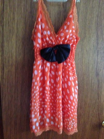 267c94c0b S M- Orange Dress with Bow and Polka Dots · Mais Oui Please ...