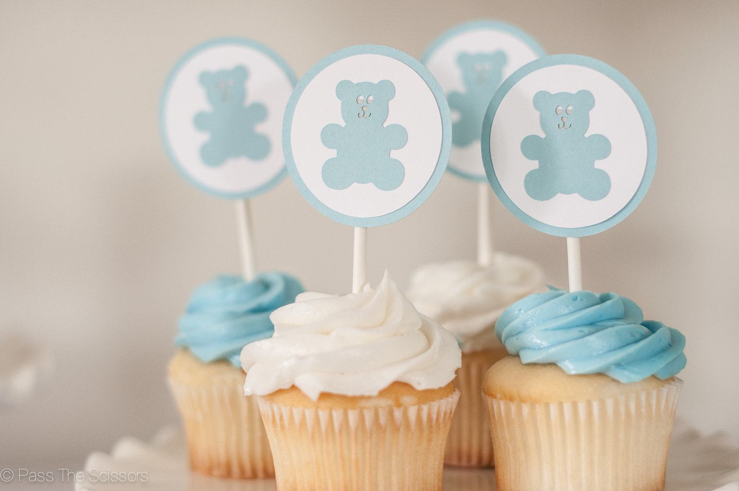 Teddy Bear Cupcake Toppers Set Of 12 Boy Baby Shower Decoration