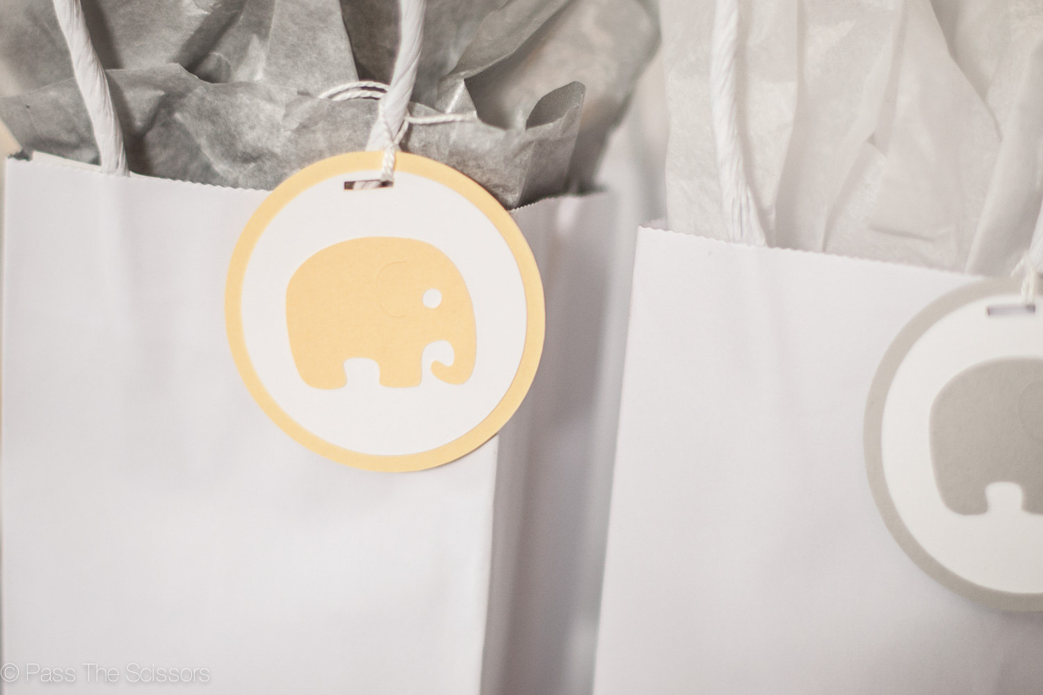 Baby Shower Decoration Elephant Tags Yellow Grey Pass The Scissors