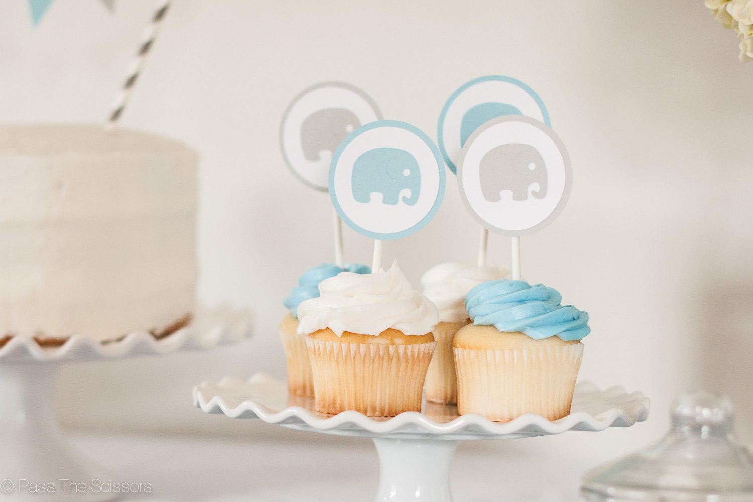 Baby Shower Decoration Boy Elephant Cupcake Toppers Blue Gray Pass