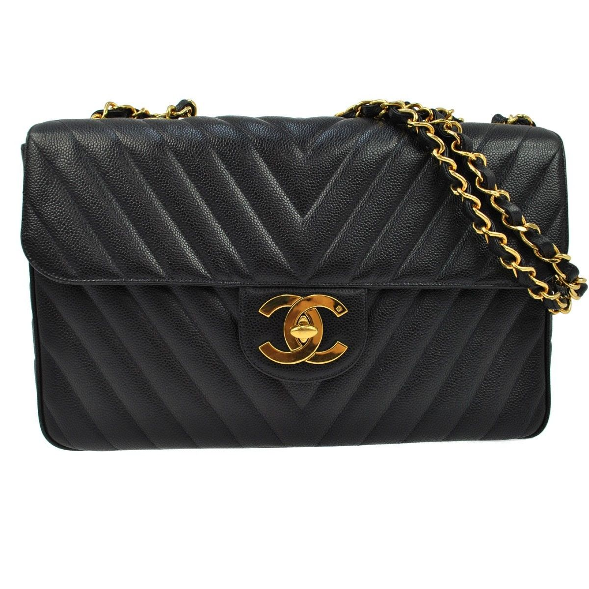 5a34ee16c771 Rare Chanel Xl Jumbo Black Chevron flap bag with GHW .