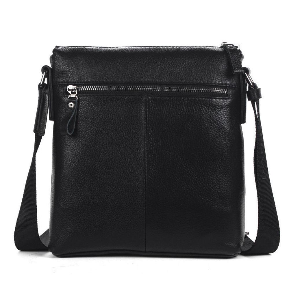 7e6b03ddb450 Men s Cowhide Leather Workbag City Courier Bag Messenger Crossbody Bag  Tablet Bag-Black - Thumbnail ...