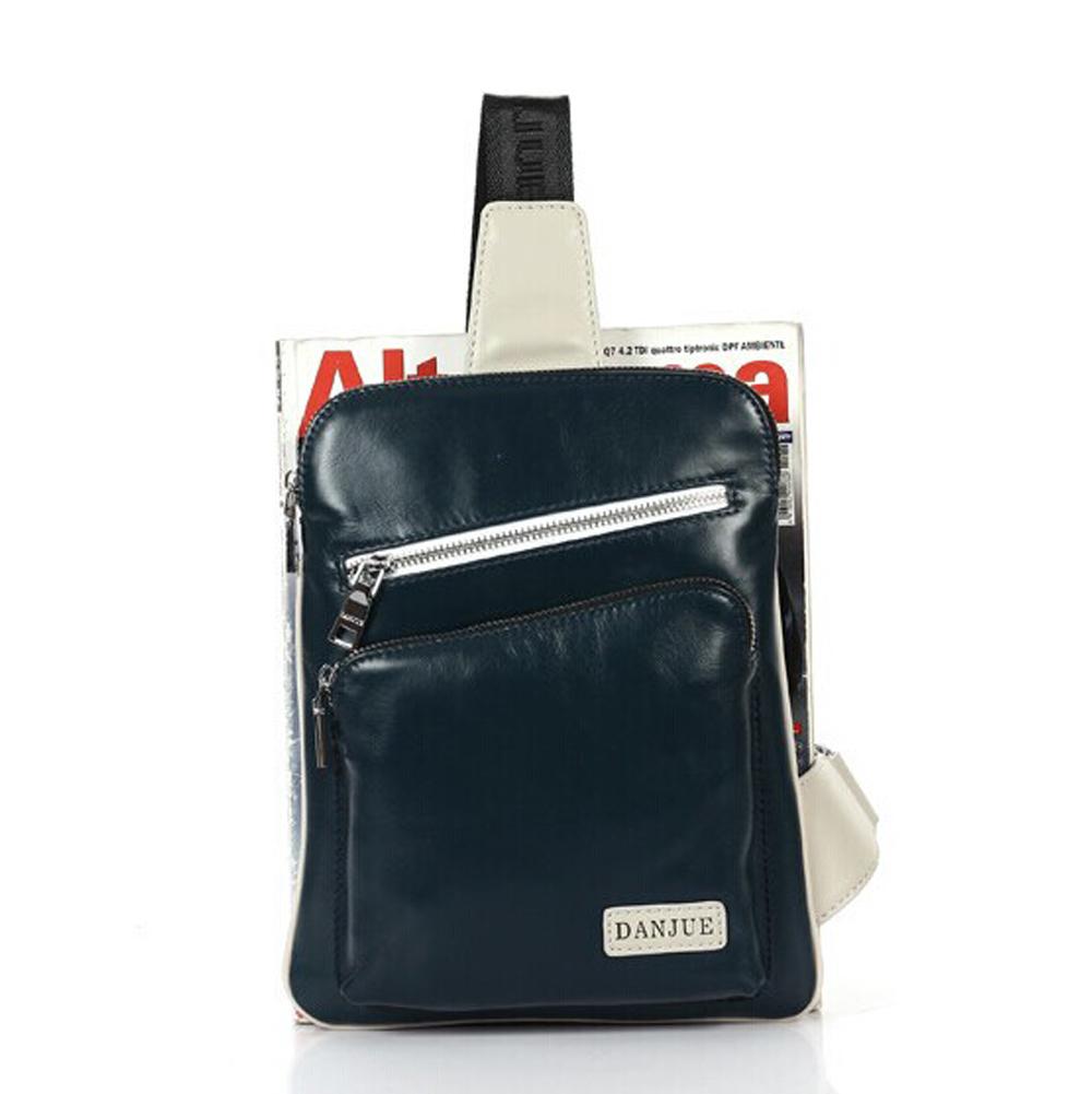 bf65df5f9f Men s cowhide leather sling pack bag crossbody shoulder bag backpack 20  blue 4 small