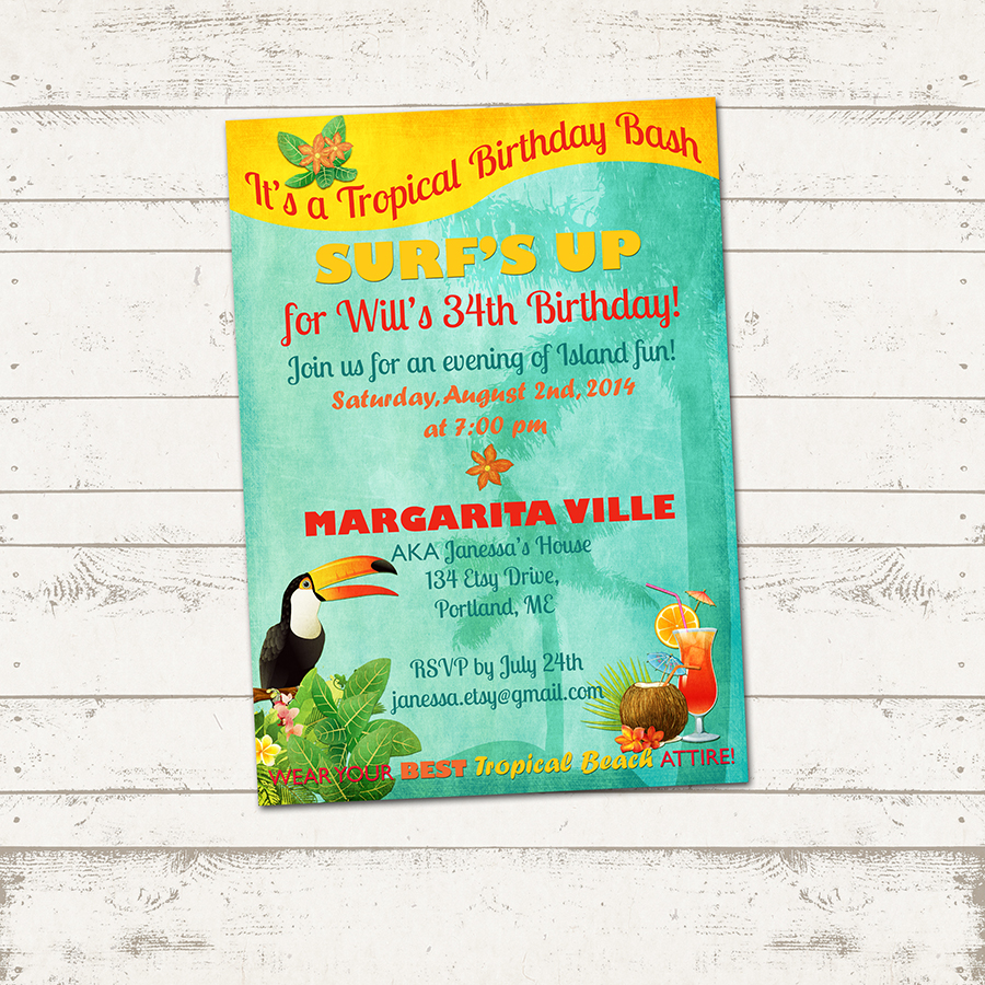Tropical Island Birthday Invitation - Retro Beach, Hawaiian, Island themes  - Exotic Birds - Great for Adults and Kids - Custom, Printable from Valerie