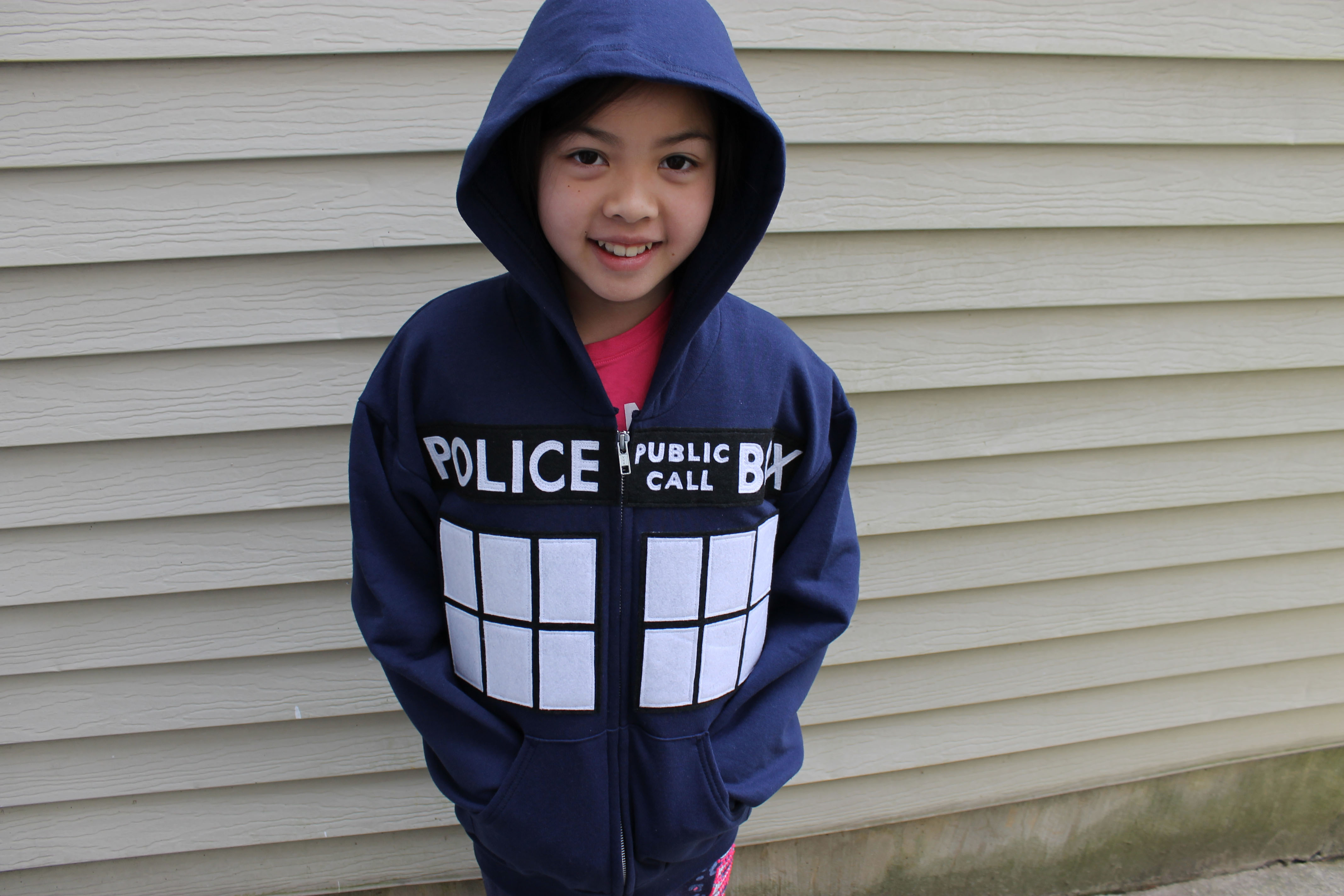 Inspired Police Box Hoodie In Adult Dr Who Tardis Navy Hoodie All Sizes