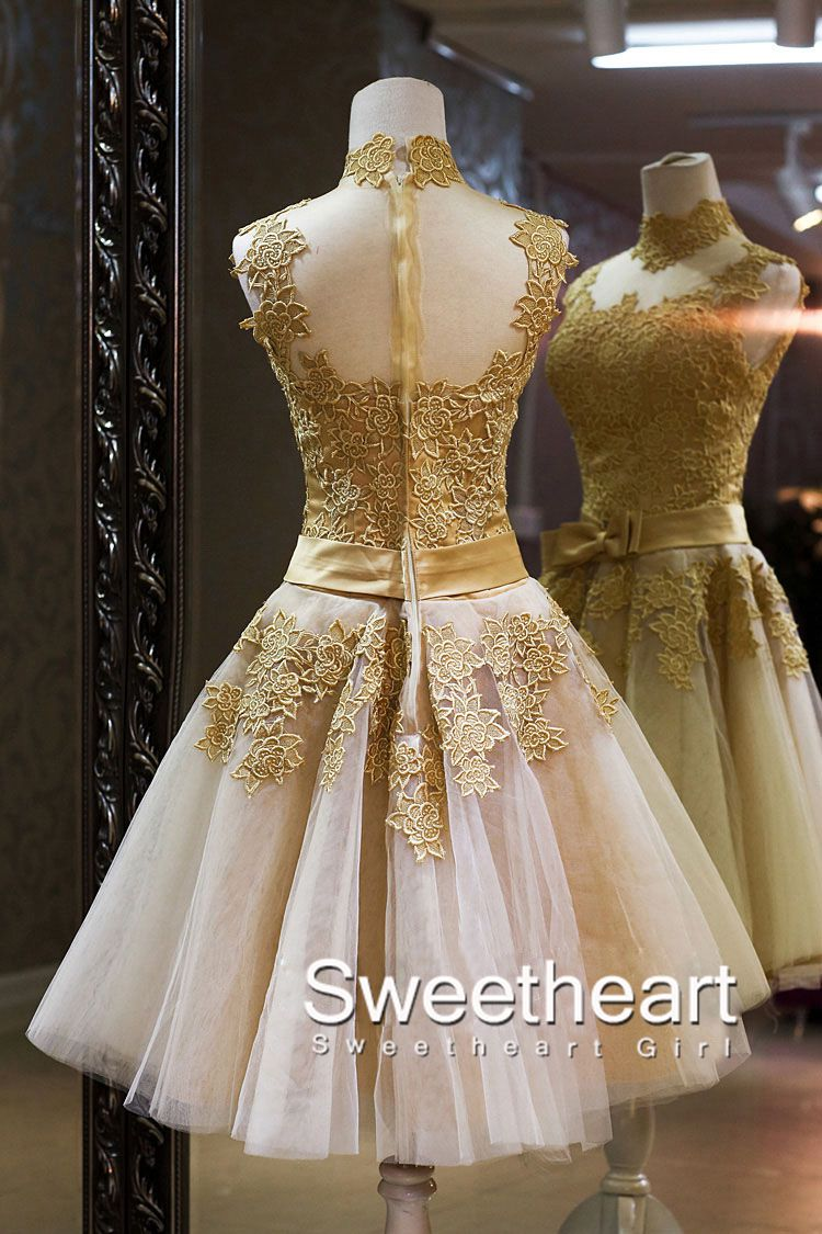 Sweetheart Girl Amazing Champagne Lace Short Prom