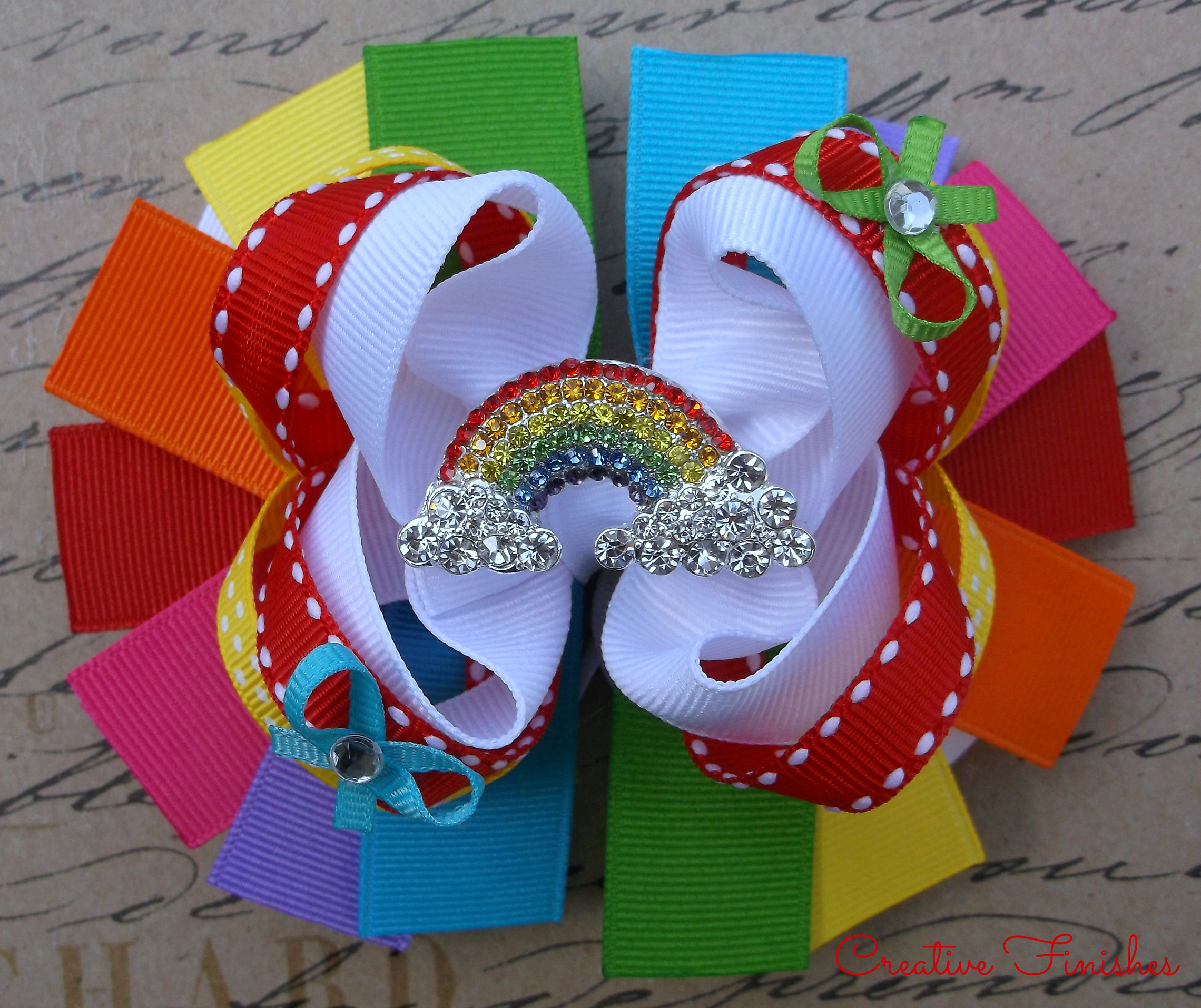 Rainbow Hair Bow Rhinestone Center Girls Hair Bow On Storenvy