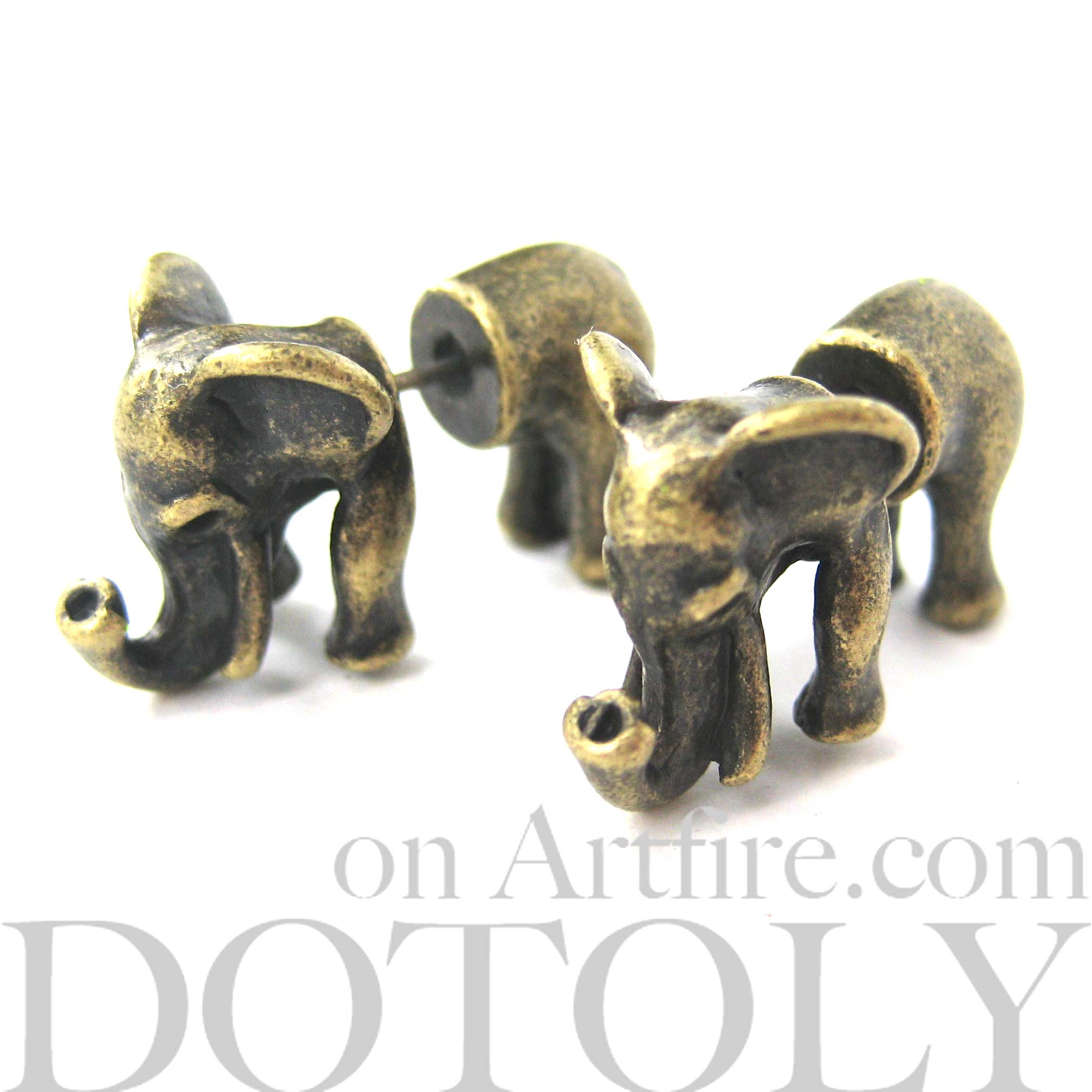 Unique 3D Fake Gauge Elephant Animal Stud Earrings in Bronze from DOTOLY  Animal Jewelry