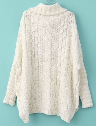 fd41df2bf5bc ... Image of Autumn New Fashion Sweaters Women Casual White Long Sleeve  Turtleneck Chunky Cable Knit Sweater ...
