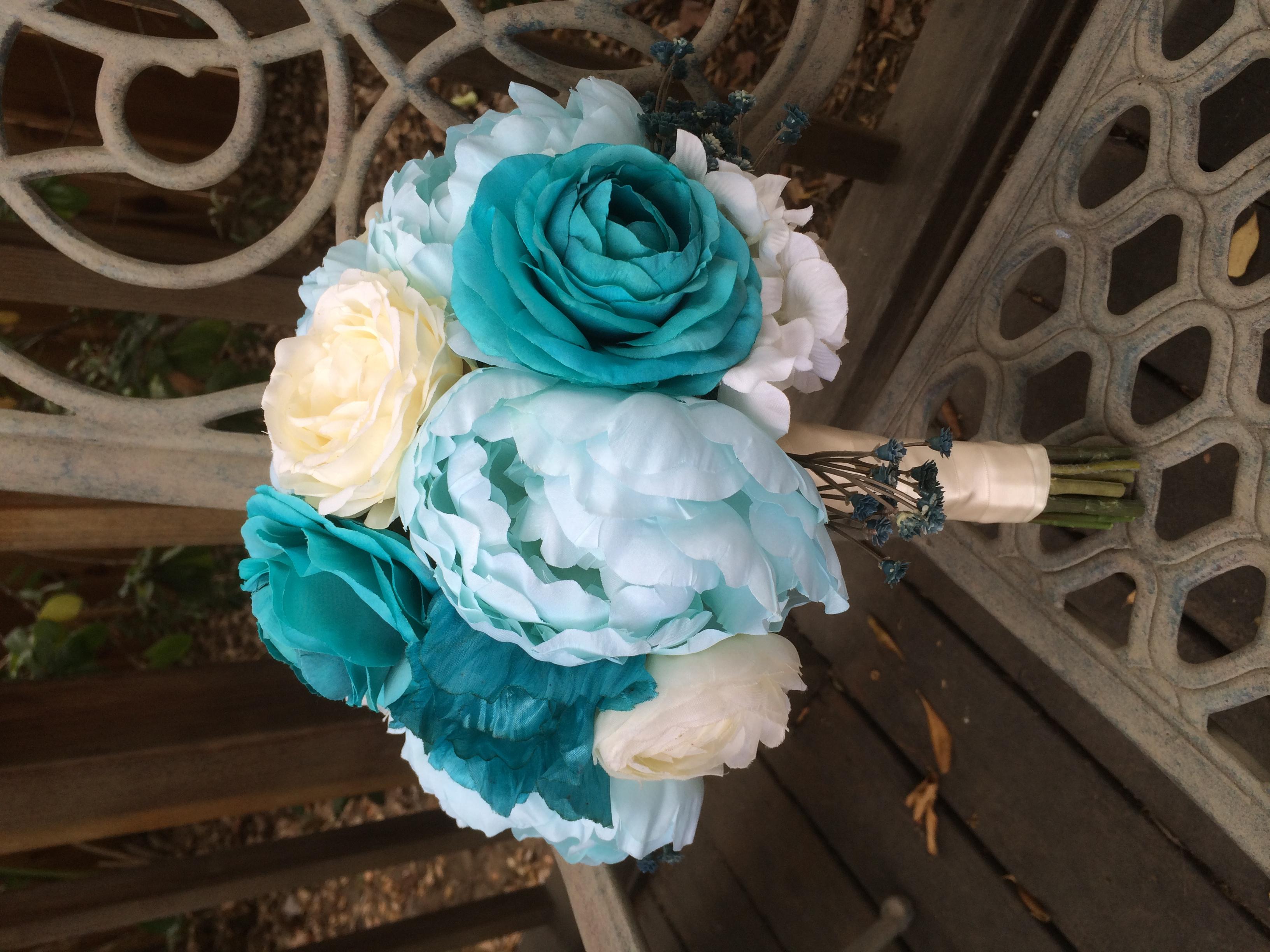 Tiffany Blue Silk Bridal Bouquet Silk Peonies Teal Ranunculus