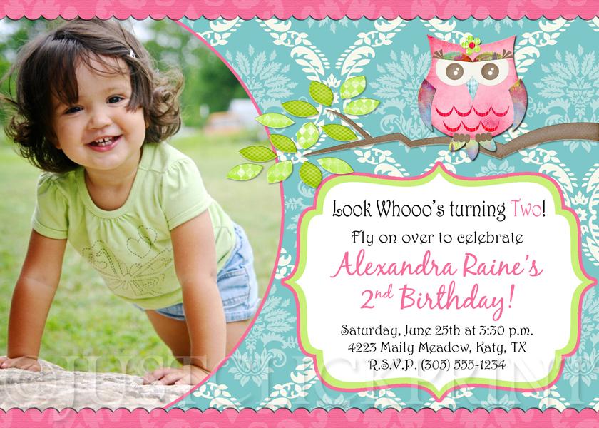 Shabby Chic Owl Birthday Photo Invitation Printable
