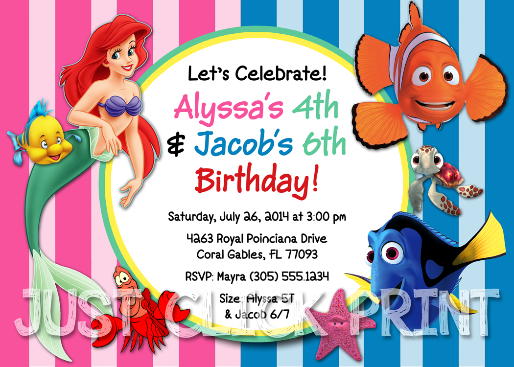 Little Mermaid And Finding Nemo Birthday Invitation Printable From Just Click Print