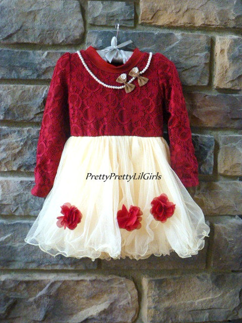 16396fc1567ff Red Girls Dress, Toddler Girl Dress, Girls Holiday Dress, Girls Fall Dress,