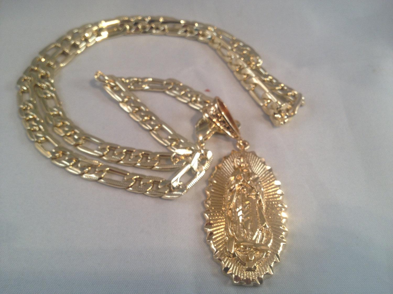 eafab535f6b5 Virgen de Guadalupe Cadena Medalla Oro K 26 quot  Grande Sinaloense Our  Lady of Guadalupe Gold ...