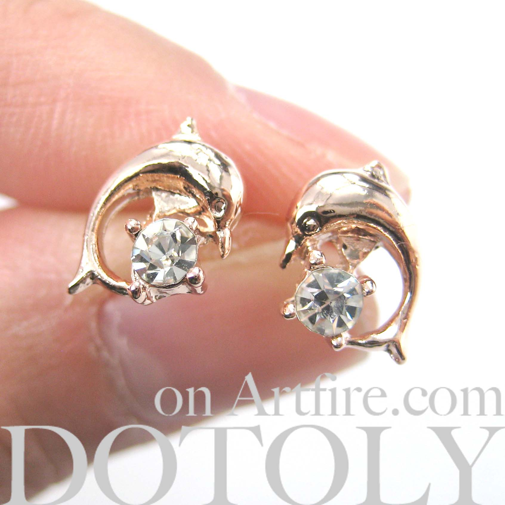 86438f5f0 Small Dolphin Fish Sea Animal Stud Earrings in Light Gold · DOTOLY ...