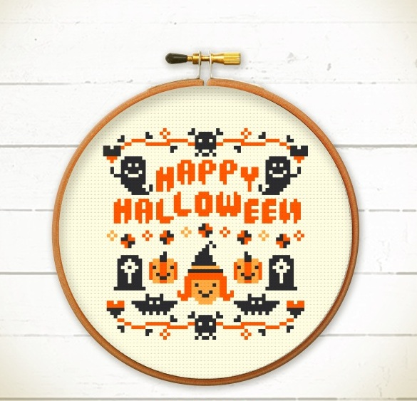 Halloween cross stitch pattern - HAPPY Halloween - Xstitch Instant download  from Redbear Design