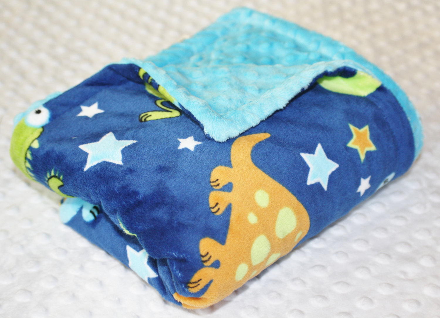 27c3a2978b Large Minky Blanket - Cartoon Dinosaurs on Navy Blue Minky with a ...