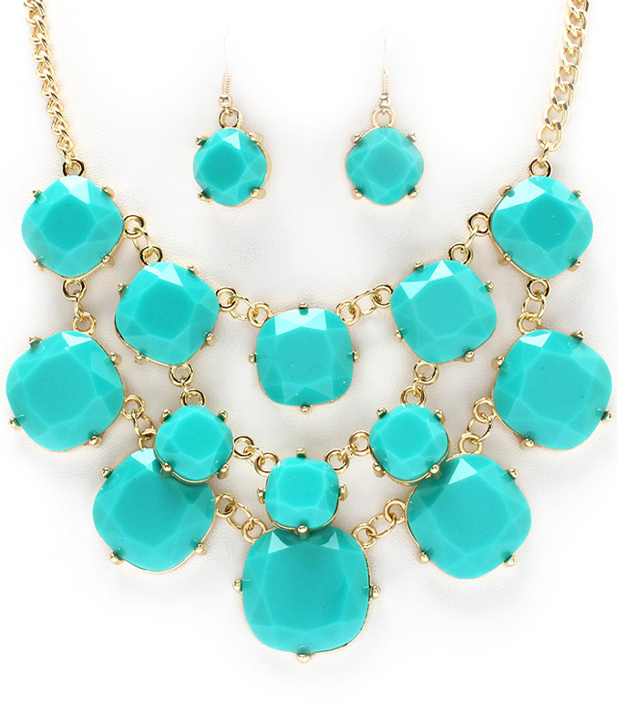 d692b62c3 Turquoise Blue Bubble Bead Bib Necklace Set Faceted on Storenvy
