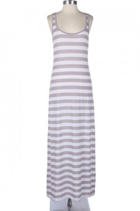Racerback Maxi Dress Sleeveless Tank Stripe Full Length 63263-8