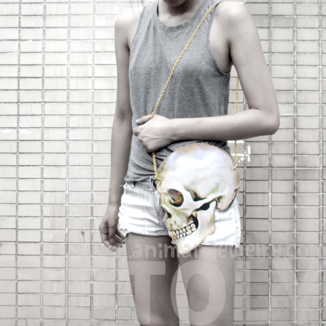 Quirky skeleton skull bones head shaped vinyl cross body shoulder bag  handmade cute small 860d05683329f