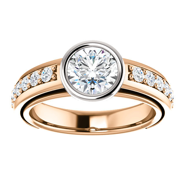 14k White And Rose Gold 1 Ct Moissanite Round Cut Center
