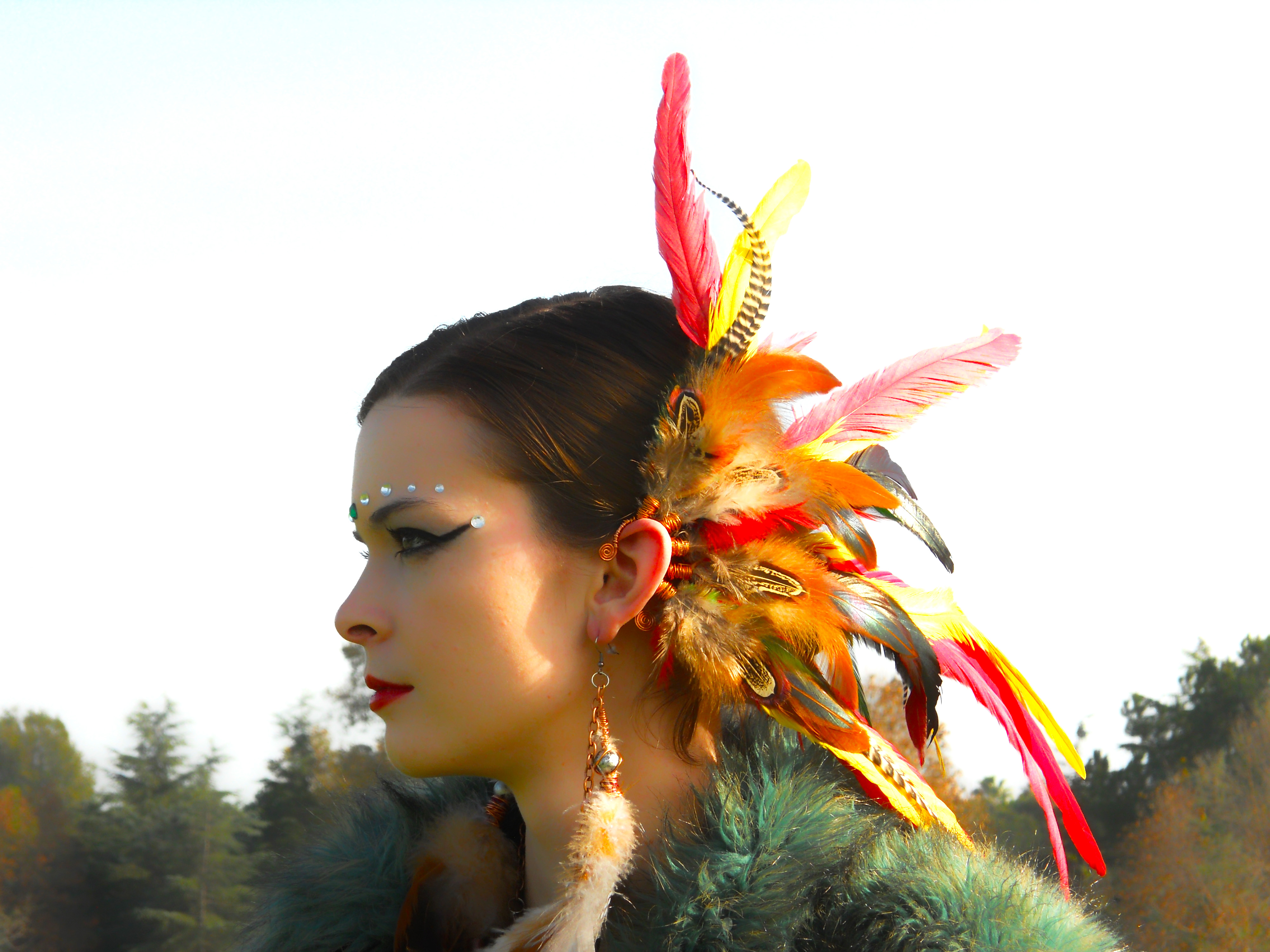 Spiritual Aura Feather Ear Cuff / Earcuff: Copper Wire - Red/Yellow/Grizzly  Feathers from Love Your Creations