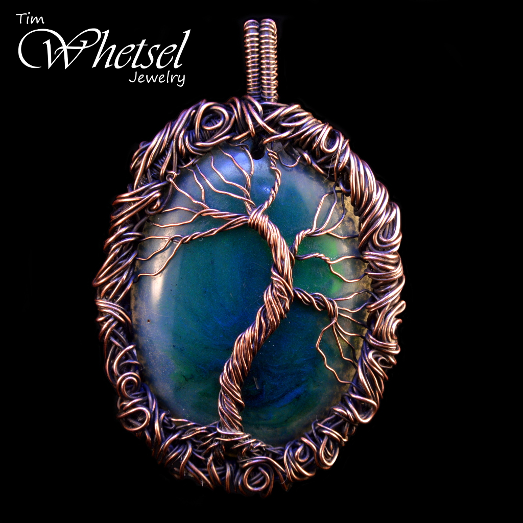 Tree Of Life Wire Wrapped Orgone Necklace Pendant Glows