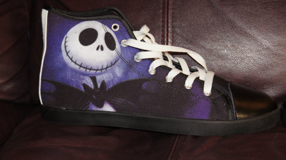 10db090d6f5c Jack Skellington Nightmare Before Christmas Custom Canvas Halloween High  Top Shoes not Converse - Thumbnail 1 ...