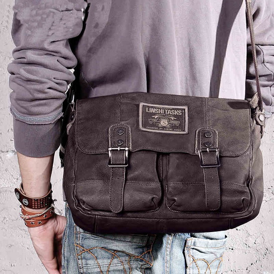 f83728576da6 personality distressed Leather messenger satchel for men · Vintage ...