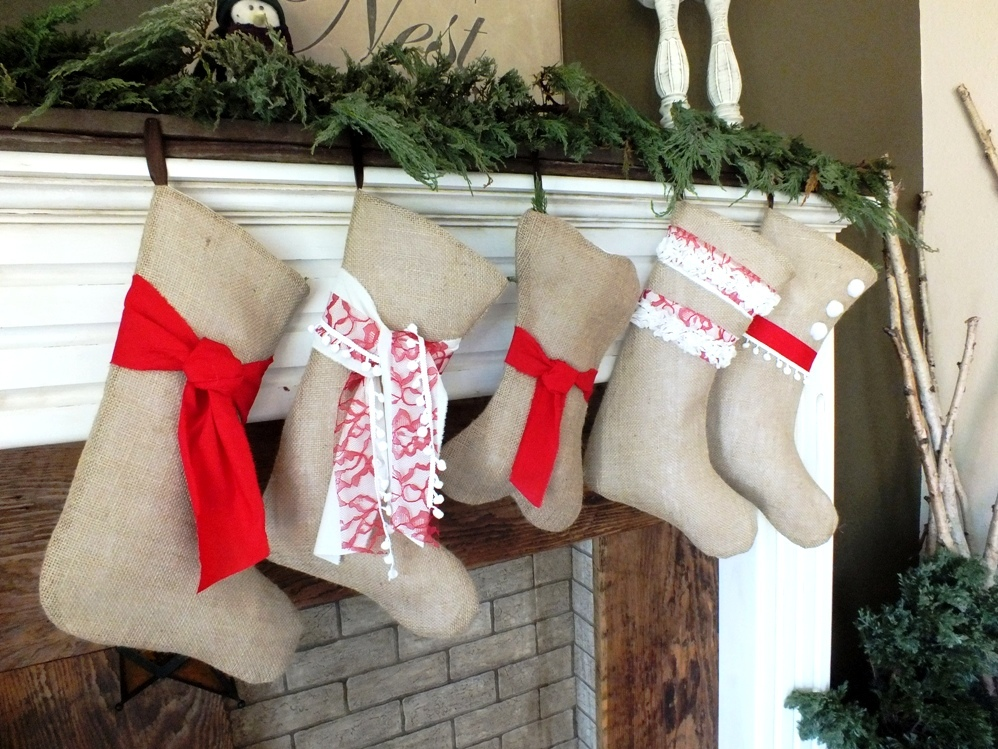 Burlap Christmas Stockings.Set Of 5 Burlap Christmas Stockings With Personalized Names