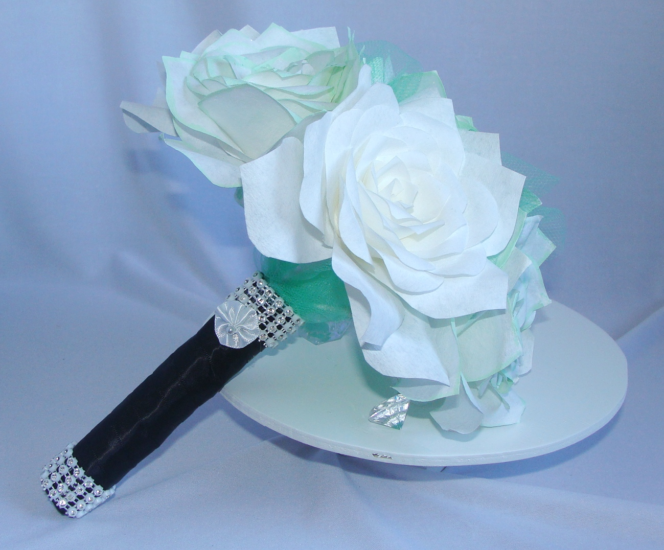 Mint Green bouquet, White Paper Bouquet, Grey toss bouquet, Fake ...