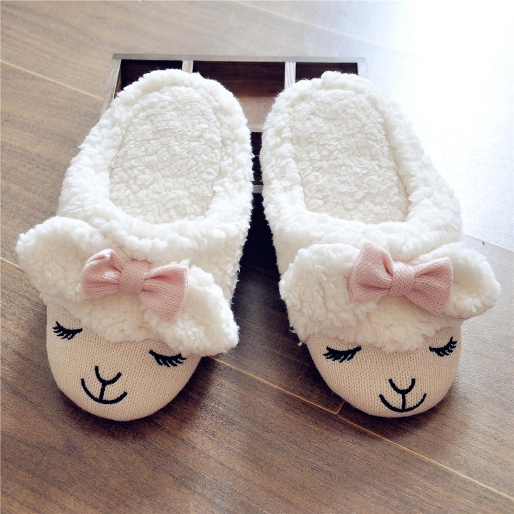 7b8dc7b8d76 Women s Bowtie Sheep Shape Faux Fur White Slippers S101402 ...