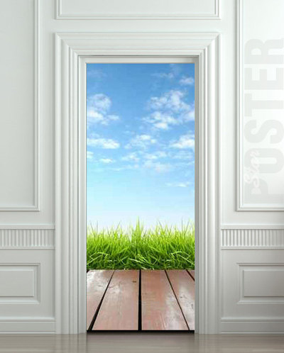 Door Sticker Landscape Cloud Grass Village Exit Natural