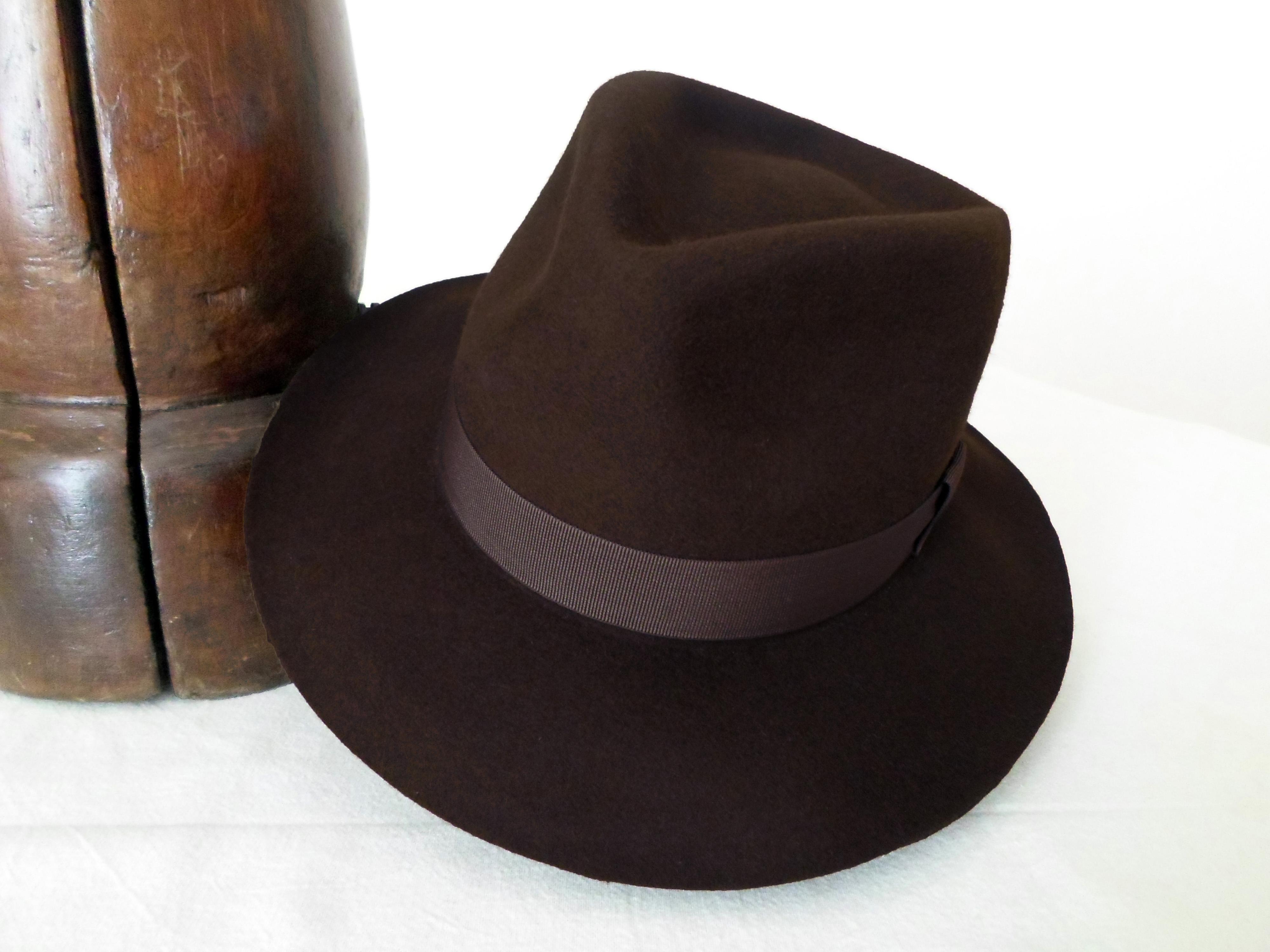 Chocolate Brown Wool Felt Fedora - Wide Brim Merino Wool Felt Handmade  Fedora Hat - Men Women 6ff8b333057